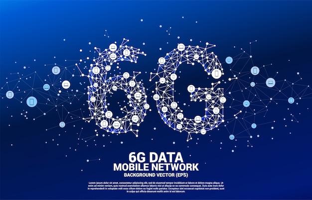 Vecteur ligne polygonale point de connexion en forme de réseau mobile 6g avec l'icône du périphérique. concept pour la technologie de données de téléphonie mobile.