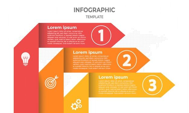 Vecteur des lignes de flèches infographie 3 options.