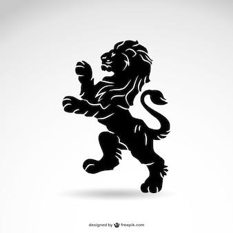 Vecteur de lion héraldique silhouette