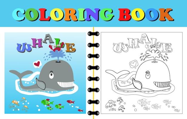 Vecteur de livre de coloriage ou de page jeu de baleine avec le crabe