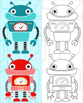 Vecteur de livre à colorier avec dessin animé de robots