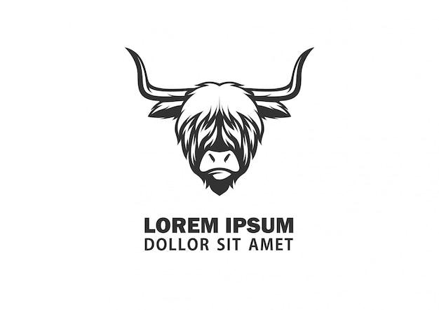 Vecteur de logo abstrait tête highland bull