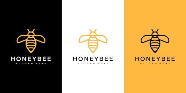 Vecteur de logo d'animaux d'abeille de miel
