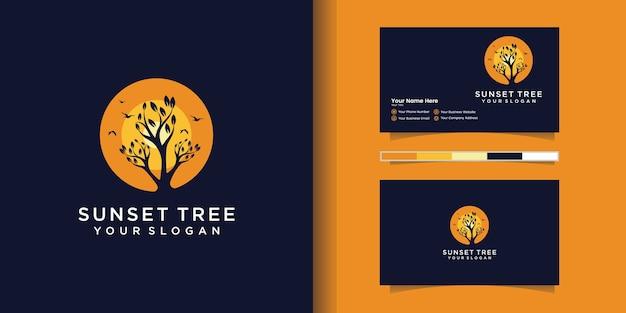 Vecteur de logo arbre coucher de soleil et carte de visite
