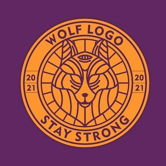 Vecteur de logo d'art de ligne de loup