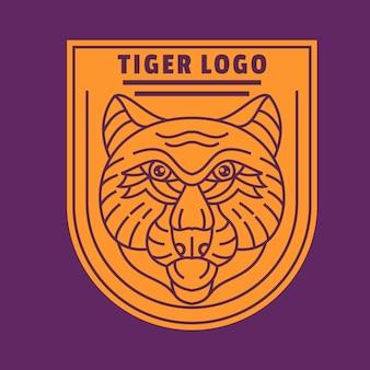 Vecteur de logo d'art de ligne de tigre