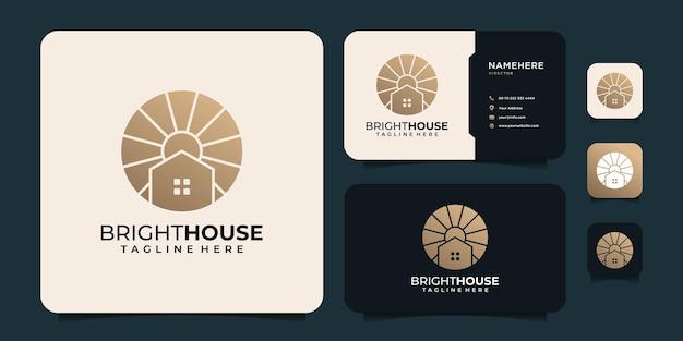 Vecteur de logo de bâtiment immobilier de construction d'architecture de luxe dégradé