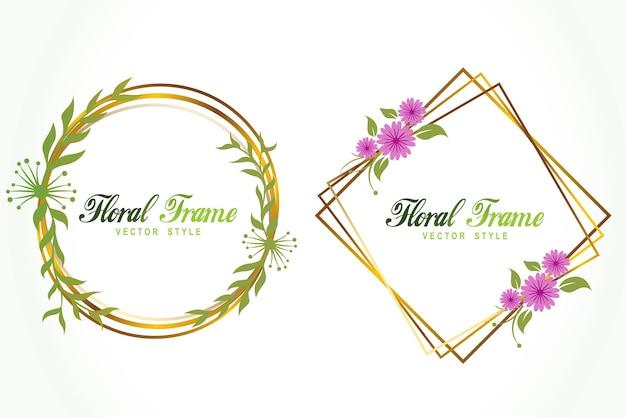 Vecteur de logo cadre or floral