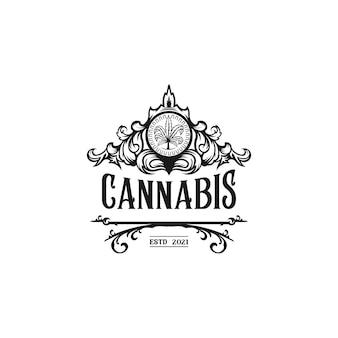 Vecteur de logo de cannabis vintage de luxe
