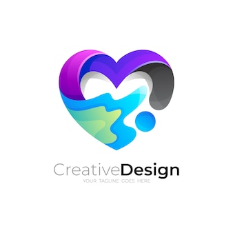 Vecteur de logo de charité, logo de coeur avec la communauté de conception sociale