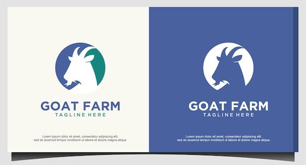 Vecteur de logo de chèvre tête animale