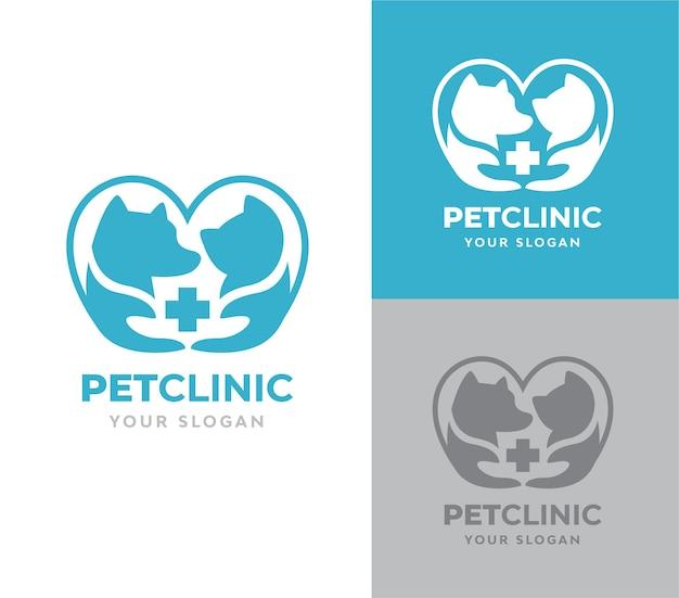 Vecteur de logo de clinique pour animaux de compagnie