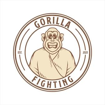 Vecteur de logo de combat en colère de gorille