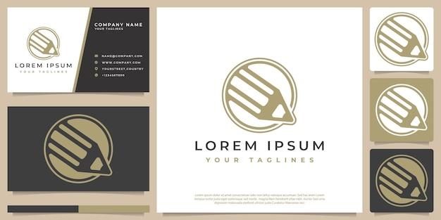 Vecteur de logo de concept de crayon avec un style simple