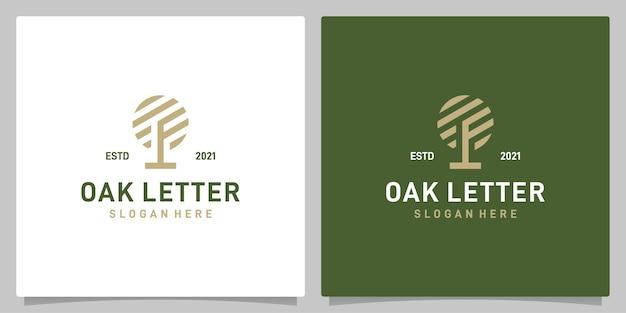 Vecteur de logo de conception abstraite d'arbre de chêne vintage avec l'inspiration de logo de lettre f. vecteur de prime