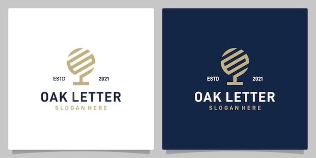 Vecteur de logo de conception abstraite d'arbre de chêne vintage avec l'inspiration de logo de lettre g. vecteur de prime