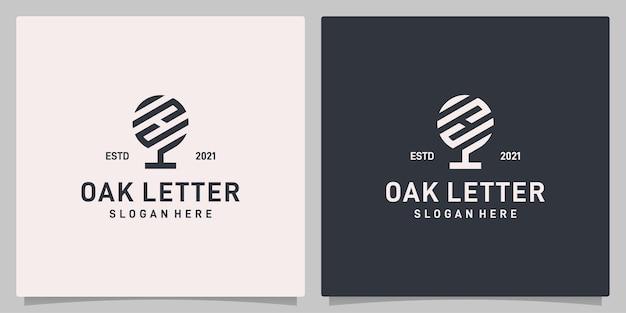 Vecteur de logo de conception abstraite d'arbre de chêne vintage avec l'inspiration de logo de lettre h. vecteur de prime