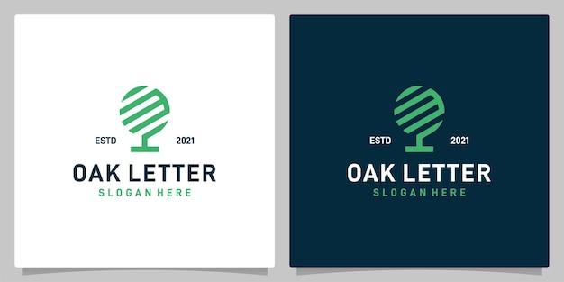 Vecteur de logo de conception abstraite d'arbre de chêne vintage avec l'inspiration de logo de lettre m. vecteur de prime