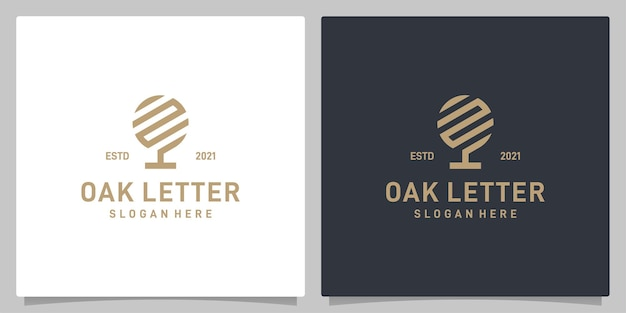Vecteur de logo de conception abstraite d'arbre de chêne vintage avec l'inspiration de logo de lettre n. vecteur de prime
