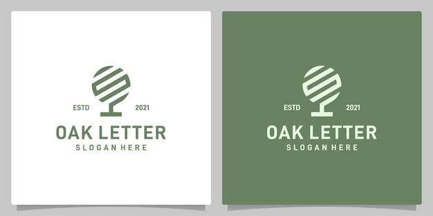 Vecteur de logo de conception abstraite d'arbre de chêne vintage avec l'inspiration de logo de lettre s. vecteur de prime