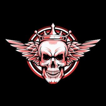 Vecteur de logo de crâne ailé