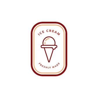 Vecteur de logo de crème glacée fraîchement faite