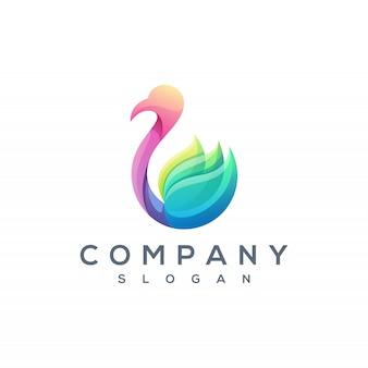 Vecteur de logo cygne coloré