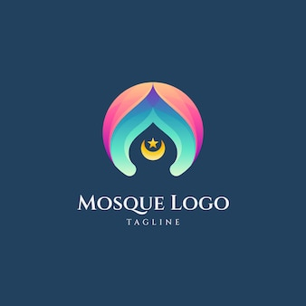 Vecteur de logo dégradé mosquée simple