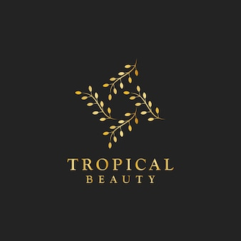 Vecteur de logo design beauté tropical