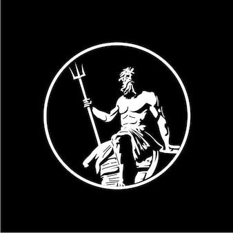 Vecteur de logo design poséidon