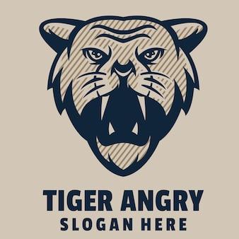 Vecteur de logo de dessin animé en colère tigre