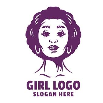 Vecteur de logo de dessin animé fille bouclée