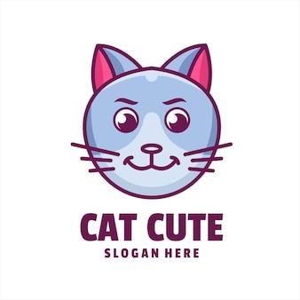 Vecteur de logo de dessin animé mignon chat