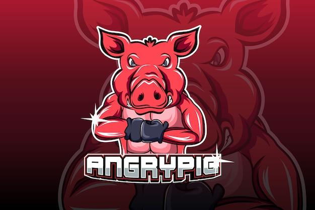 Vecteur de logo e sport cochon en colère