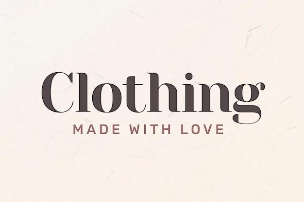 Vecteur de logo d'entreprise modifiable avec mot de vêtements