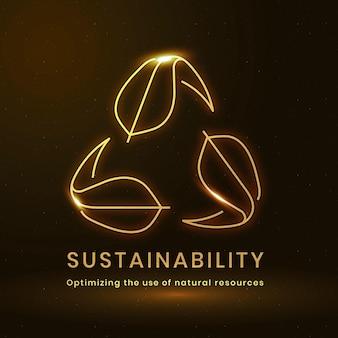 Vecteur de logo environnemental de durabilité avec texte