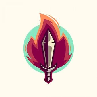 Vecteur de logo épée de feu