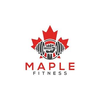 Vecteur de logo de fitness à l'érable