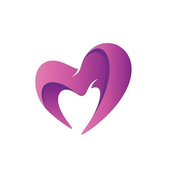 Vecteur de logo de forme d'amour