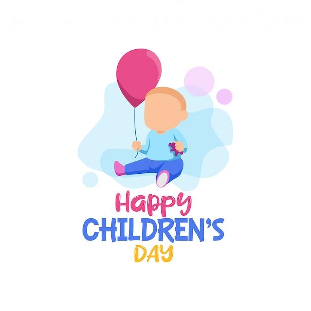 Vecteur de logo heureux enfants jour