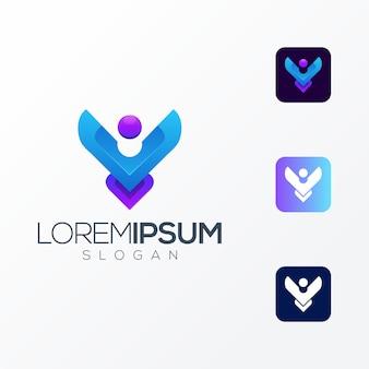 Vecteur de logo icône premium personnes