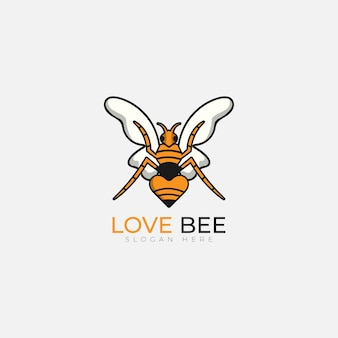 Vecteur de logo d'illustration d'amour d'abeille
