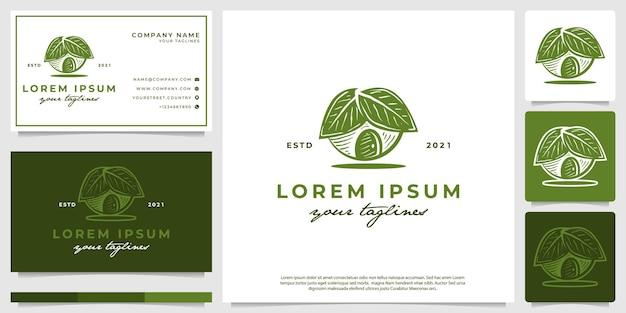 Vecteur de logo d'illustrations à la maison pour les végétariens avec un style dessiné à la main