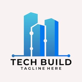 Vecteur de logo immobilier de technologie de dégradé moderne
