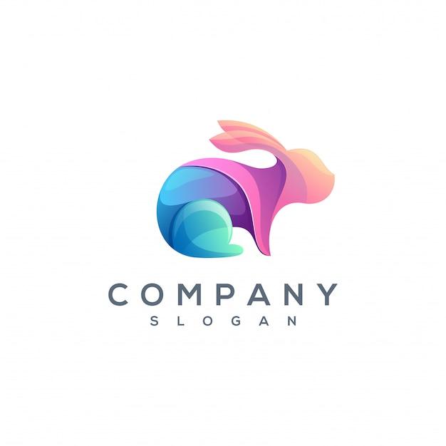 Vecteur de logo de lapin coloré