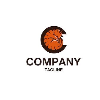 Vecteur de logo lettre c chat