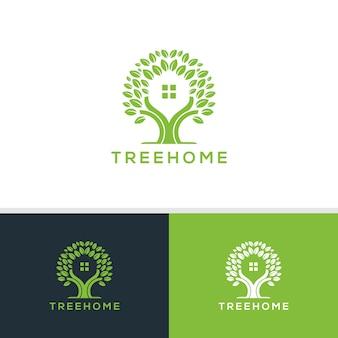 Vecteur de logo maison arbre