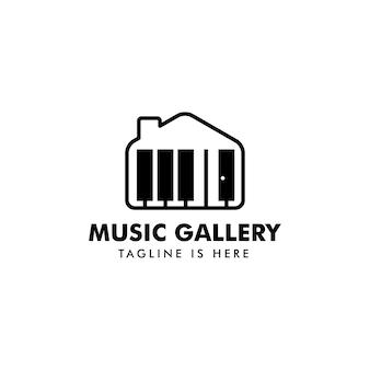 Vecteur de logo maison de musique