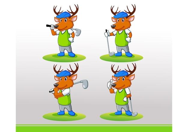Vecteur de logo de mascotte de golf elk