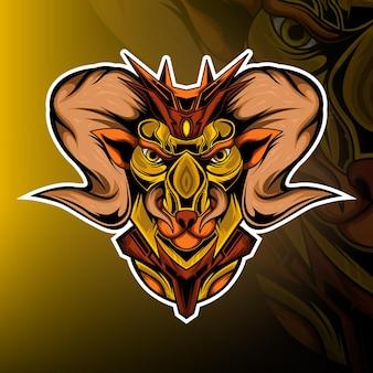 Vecteur de logo de mascotte de jeu de monstre de chèvre
